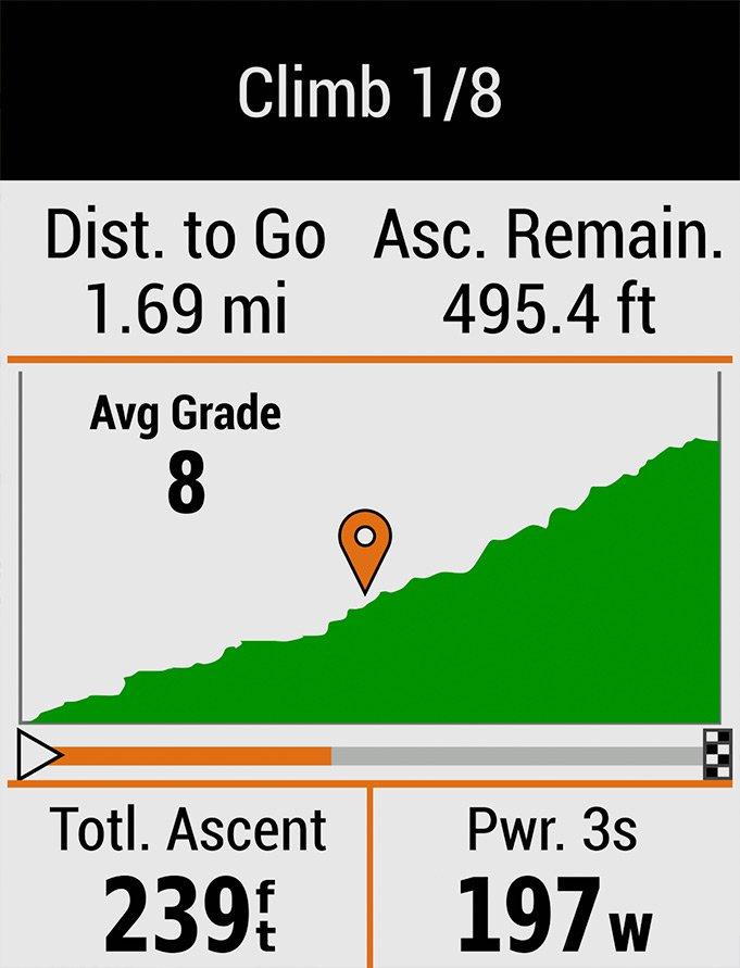 ClimbPro функция подъемов в гору на edge 530