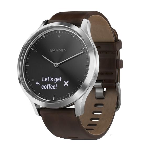 Купить vivomove HR серебряные с темно-коричневым кожаным ремешком в интернет магазине Навигационныx систем и оборудования Garmin