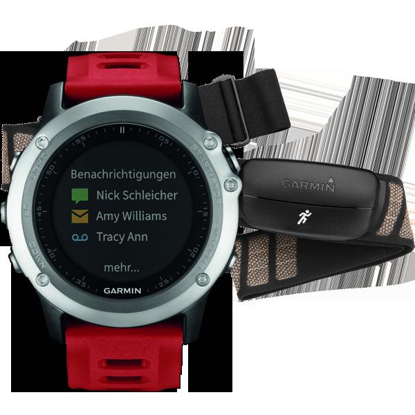 Купить Fenix 3 HRM cеребряный с красным ремешком в интернет магазине Навигационныx систем и оборудования Garmin